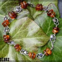 Handmade silver and Amber leaf choker