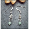 Leaf Design silver earring with aventurine bead
