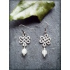Pewter Celtic Knot Earring with Rose Quartz bead