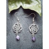 Pewter Celtic Knot earring with amethyst bead