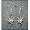 Pewter Fairy Earring with peach bead
