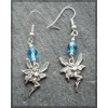 Pewter Fairy earring with blue bead