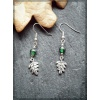 Pewter Oak Leaf earring with green bead