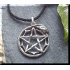 Pewter Pentagram and Snake Pendant