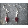 Rectangular red garnet earrings