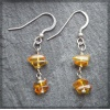 Silver Earings with Amber Chips