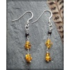Silver Earrings with Amber Chips and Jet Bead