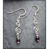 Silver earrings with facetted garnets