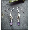 Silver earrings with facetted amethysts