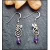Spiral and leaf design silver earring with amethyst bead
