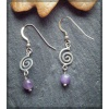 Spiral design silver earring with amethyst bead