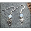 Triple knot silver earring with chalcedony bead