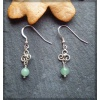 Triskel silver earring with aventurine bead
